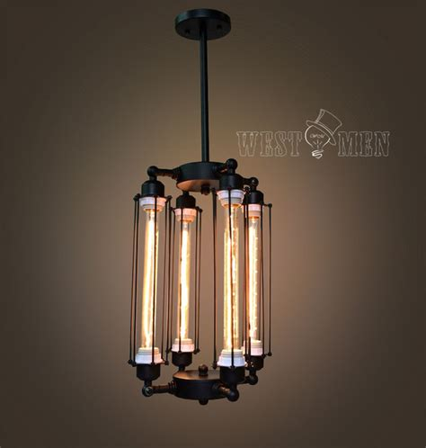 cage edison bulb chandelier 4 lights lobby hanging