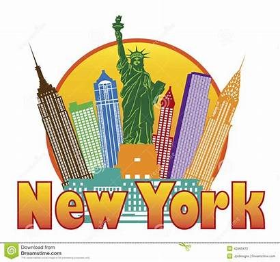 York Clipart Skyline Liberty Statue Colorful Circle