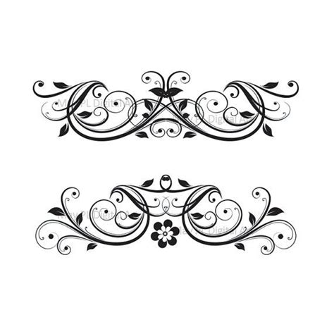 Digital Clipart Flourish Swirl VECTOR Vintage Flower Diy