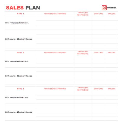 sales plan template sales strategy plan word excel format