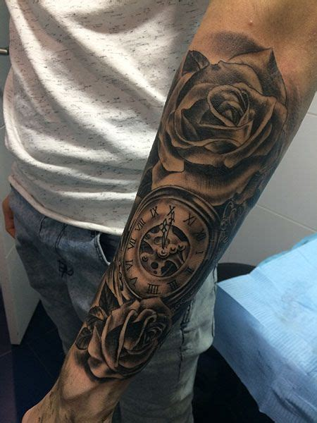 awesome rose clock tattoos  men clock tattoo sleeve