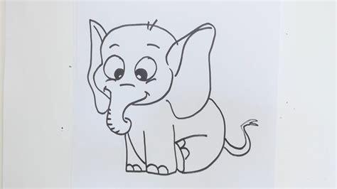 draw simple cartoon elephant youtube