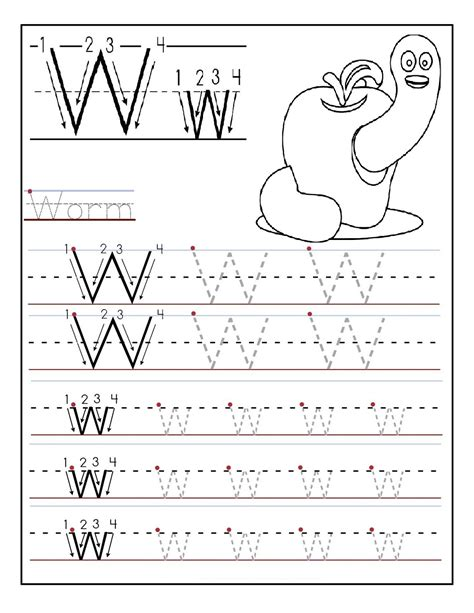 kindergarten alphabet worksheets printable activity shelter 733 | kindergarten alphabet worksheets letter W