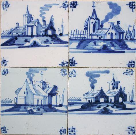 antique dutch delft landscape wall tiles  typical