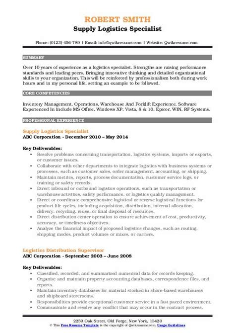 logistics specialist resume samples qwikresume