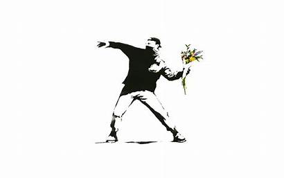 Banksy Graffiti Background Flowers Desktop Selective Minimalism