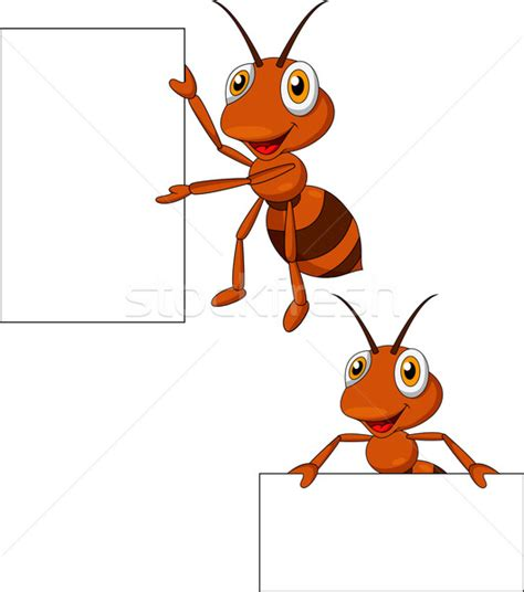 Ant cartoon with blank sign vector illustration © Teguh
