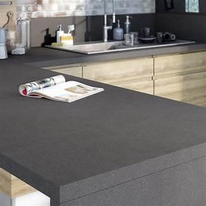 plan de travail stratifie effet metal anthracite mat l300 With plan de travail cuisine gris anthracite