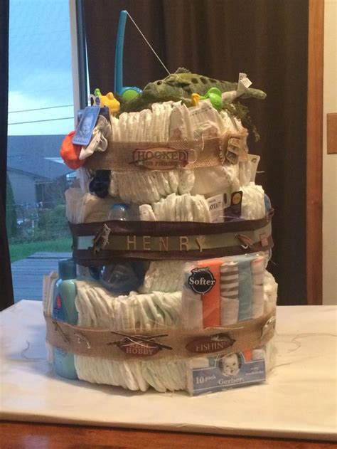 hooked  fishing diaper cake  burlap
