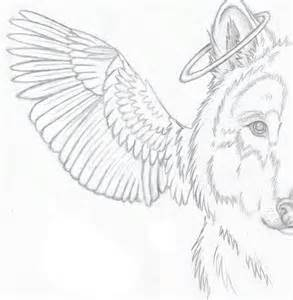 Wolf with Angel Wings Drawings