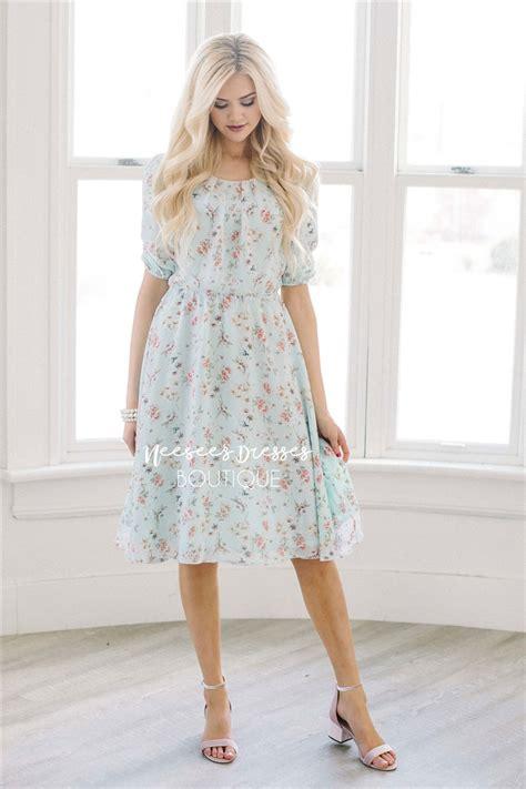 mint pink spring floral modest summer dress cute modest