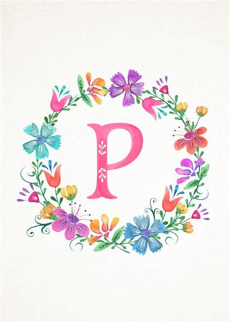printable whimsical watercolor monograms  cottage market