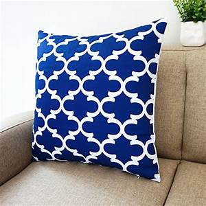 blue and white howarmer square cotton canvas decorative With blue and white accent pillows