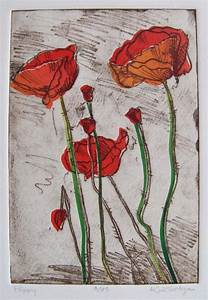 Items Similar To Red Poppies Softground Etching With Chine