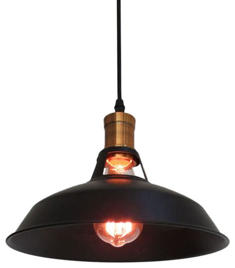 retro industrial style pendant light with black shade
