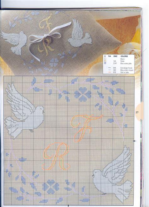 cuscini portafedi punto croce cuscino portafedi con colombe 3 magiedifilo it punto
