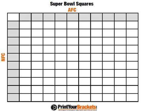 printable super bowl squares  grid office pool nfl