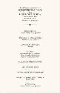 wedding ceremony bulletin wedding programs wedding program wording program sles