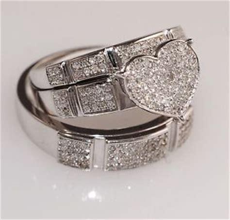 diamond white gold heart trio set wedding engagement