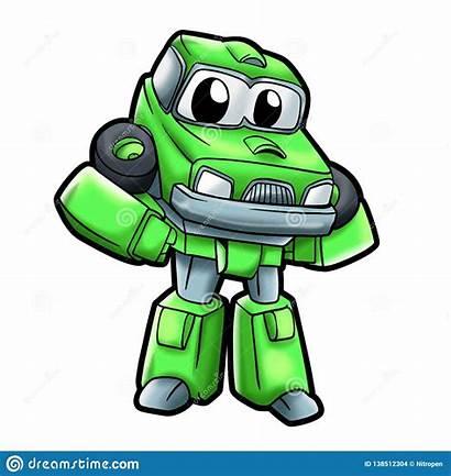 Robot Cartoon Robots Geitjes Jonge Groene Voor