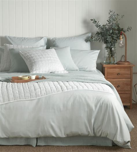 Tiny Stripe Duck Egg Bed Linen  Secret Linen Store