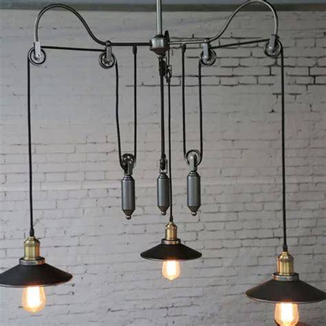 vintage edison industrial pulley pendant lights adjustable
