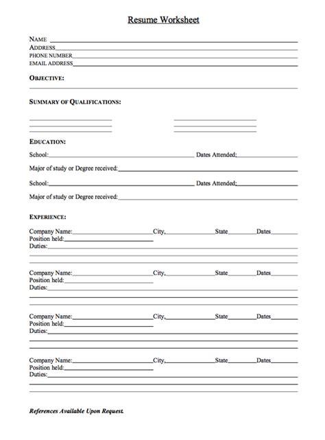 Printable Resume Worksheet by Sle Resume Worksheet Http Exleresumecv Org
