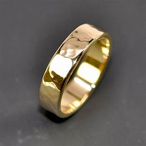 18K Yellow Gold Men39s Wedding Band Hammered 5mm Ring Sea