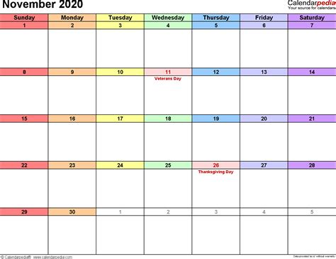 november  calendar templates  word excel