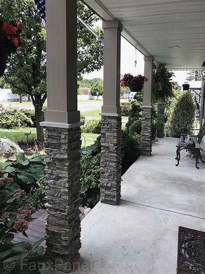 Porch Pilar Stone Columns Column Exterior Siding