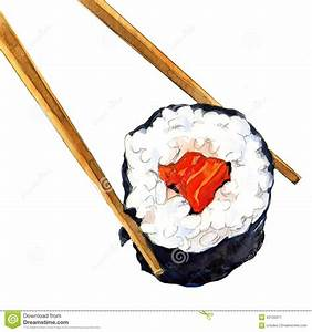 Isolated Sushi Roll With Chopsticks Stock Illustration ...