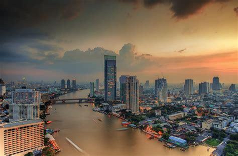 bangkok thailand city town landscape river house sky hd