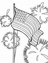 Flag Coloring American Fireworks sketch template