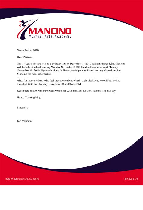 sample business letter  letterhead sample business