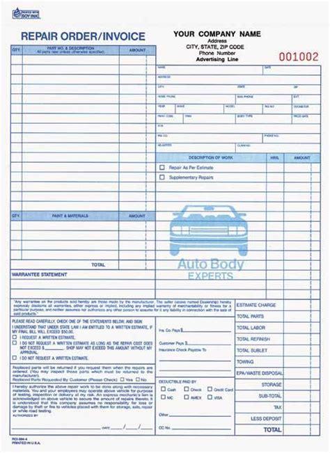 part auto body repair orderinvoice carbonless