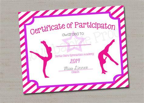 gymnastics award certificate dance award printable digital