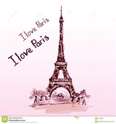 Eiffel Tower,lettering,pink Heartshand Drawn Watercolor
