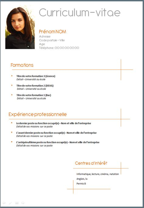 Comment Faire Un Cv En 2016 by Comment Faire Un Cv Exemple Cv Exemple Word 2016 Moto Bip