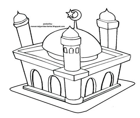 mewarnai gambar mewarnai gambar sketsa masjid 13