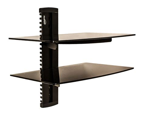 Tv Shelf For Cable Box by 2 Tier Dual Medium Glass Shelf Wall Mount Tv Cable