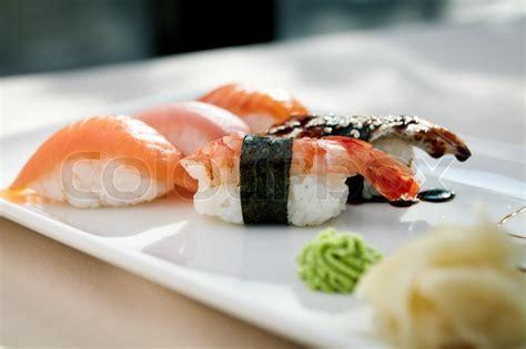 sushi  shrimp tuna trout eel  smoked salmon