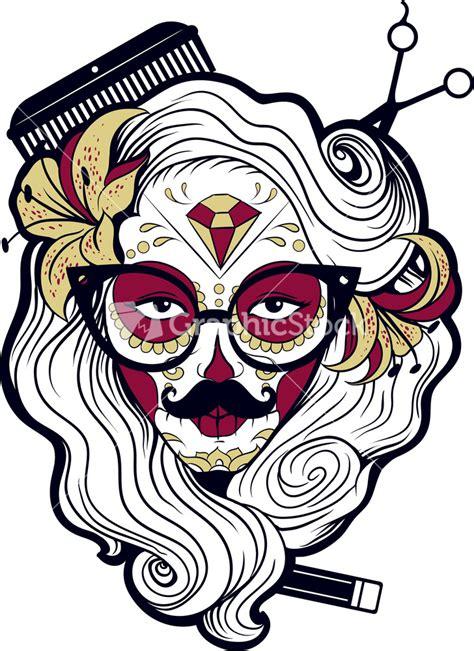 funny sugar skull vector t shirt design stock image