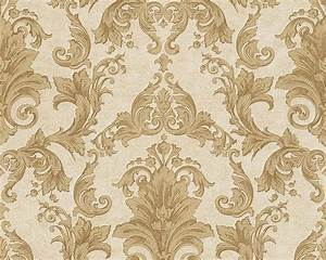 Wallpaper baroque gold cream as creation versace 96215 5 for Markise balkon mit tapete creme gold
