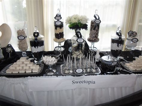 Elegant Black And White Candy Buffet Party Ideas