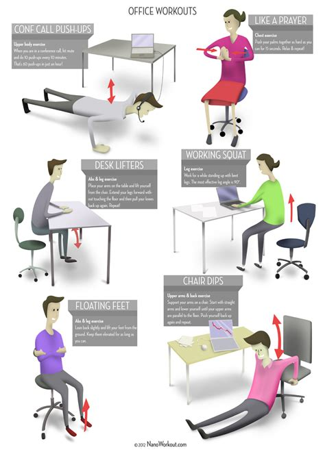desk exercises at work office workouts poster
