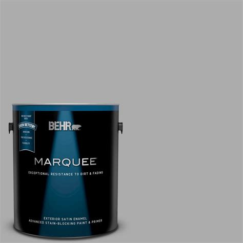 behr marquee 1 gal n520 3 flannel gray satin enamel exterior paint and primer in one 945401