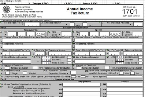 How To File Your Bir Form 1701 Income Tax Return For Self
