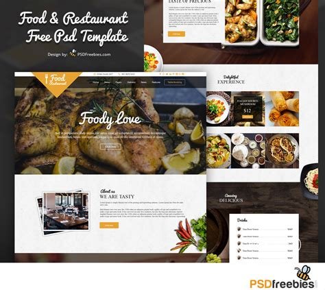 web cuisine food and restaurant free psd template
