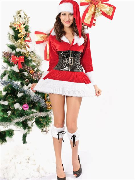 Belted Long Sleeve Cuffed Velour Sexy Christmas Bedroom