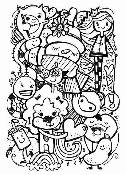 Doodle Kawaii Coloring Doodles Drawing Gambar Dessin